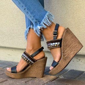 Unique Leather Boho Embellished Chic Wedge Sandal